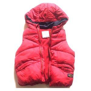 Zara Baby boy outerwear red warm vest with hoodie.